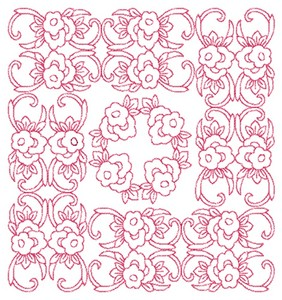 Floral Box - Redwork (Square Hoop)