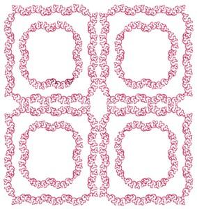 Vine Squares - Redwork (Square Hoop)