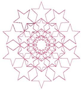 Stars - Redwork (Square Hoop)
