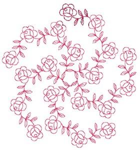 Floral Pinwheel - Redwork (Square Hoop)