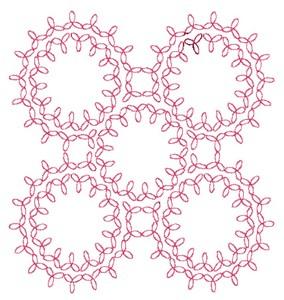 Three Leaf Rings - Redwork (Square Hoop)
