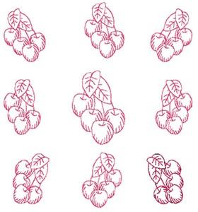 Cherries - Redwork (Square Hoop)