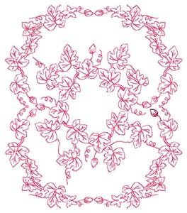 Maple Leaves - Redwork (Square Hoop)