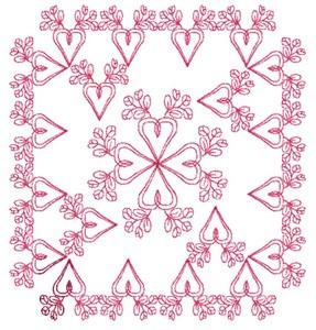 Budding Hearts - Redwork (Square Hoop)