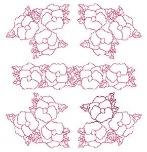 Pansies -Redwork (Square Hoop)