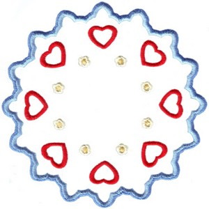 Hearts & Flowers Linen Set ( large circle )