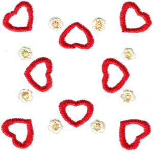 Hearts & Flowers Linen Set ( small heart square )