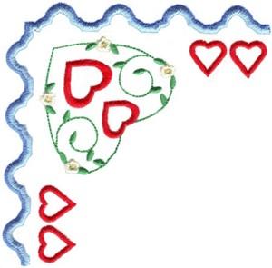Hearts & Flowers Linen Set ( large heart corner )
