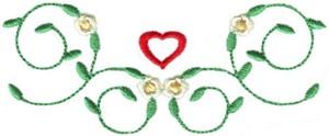 Hearts & Flowers Linen Set ( floral vine border )