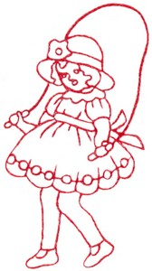 Skipping Rope Girl (Redwork)