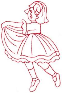 Dancing Girl (Redwork)
