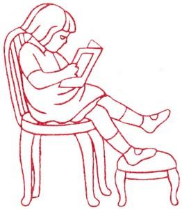 Reading Book Girl (Redwork)