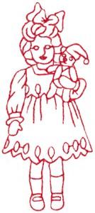 Teddy Bear Girl (Redwork)