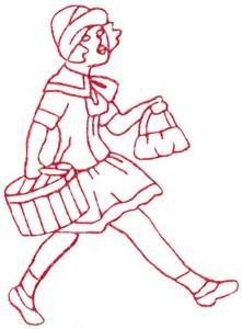 Shopping Teen Girl (Redwork)