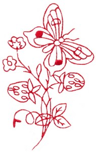 Butterfly & Blossoms A (Redwork)
