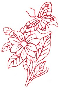 Butterfly & Blossoms C (Redwork)