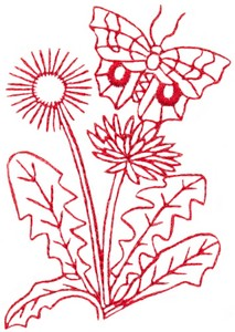 Butterfly & Blossoms D (Redwork)