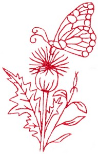Butterfly & Blossoms F (Redwork)
