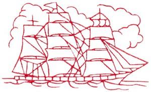 Sailing Ship (Redwork)
