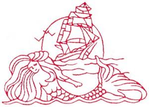 Mermaid & Ship (Redwork)