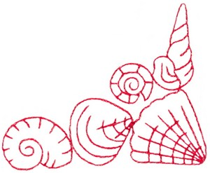 Sea Shell Corner 1 (Redwork)