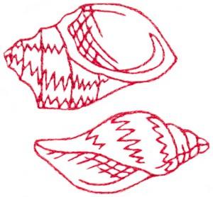 Sea Shells (Redwork)