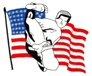 Karate with Flag in Background