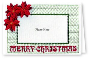 Merry Christmas with Freestanding Poinsettia - Photo Greeting Card