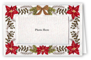 Poinsettias and Bow - Photo Greeting Card