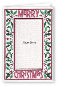 Merry Christmas Holly Vine - Photo Greeting Card