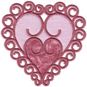 Curly Heart (Small - Double Applique)