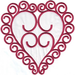 Large Curly Heart (Applique Fill)