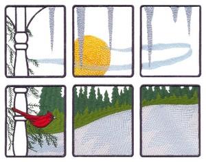 Winter Cardinal Window Scene (Square Hoop)