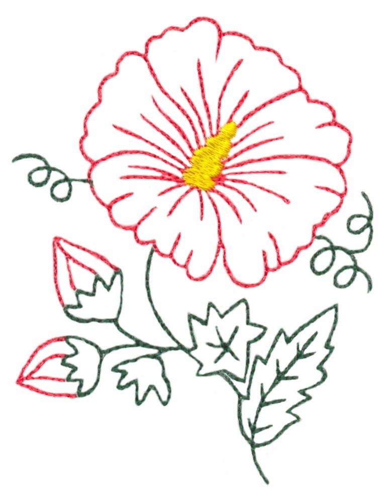 Hibiscus Flower Outline 2 Custom Embroidery Designs By Stitchitize