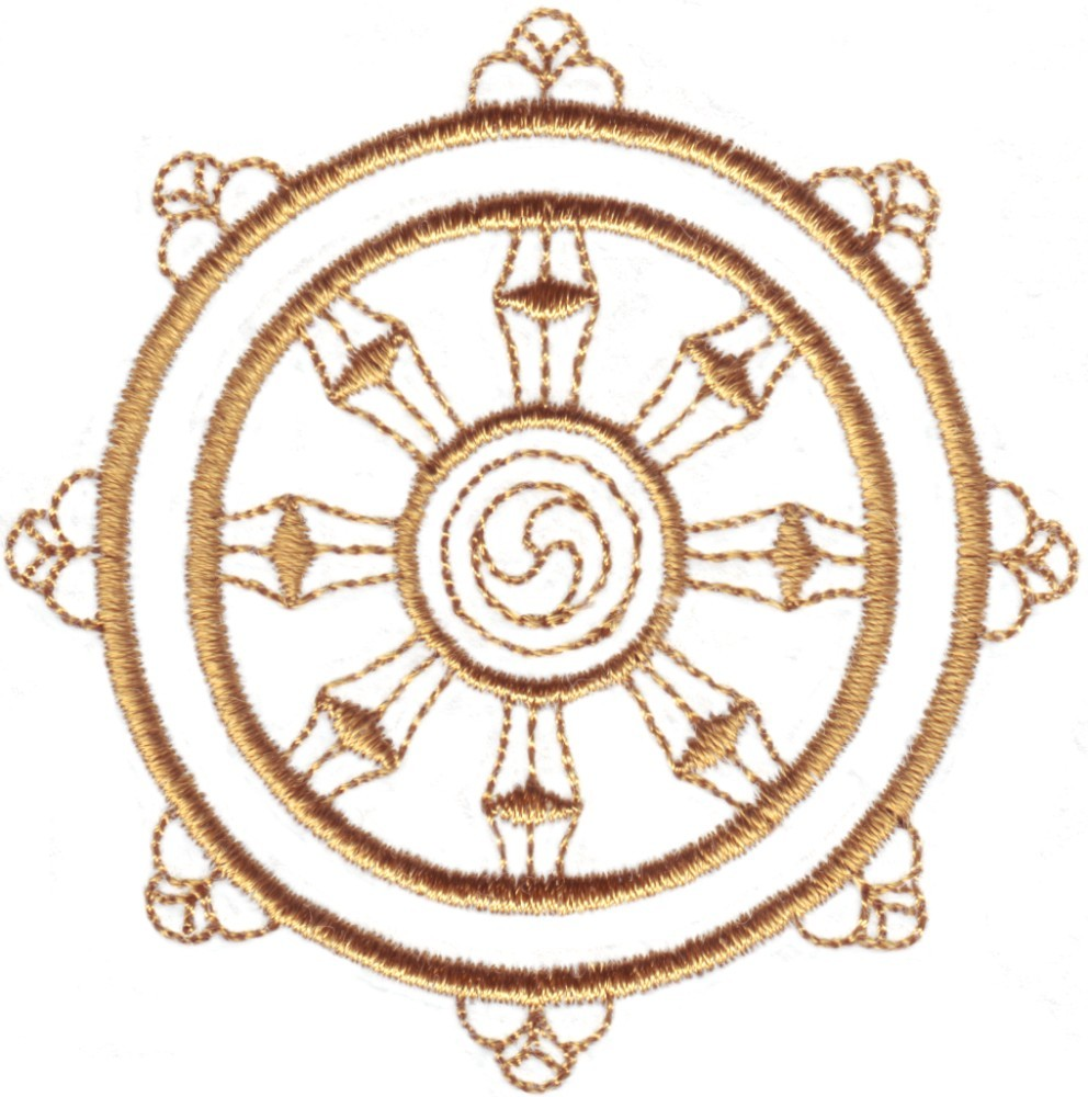 Buddhism Symbol Dharma Wheel Custom Embroidery Designs By