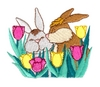 Bunnies Kissing in Tulips