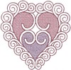 Curly Heart (Small - Trapunto)