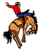 Bare Back Rider with Bucking Horse