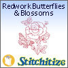 Redwork Butterflies & Blossoms - Pack