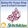 Butterfly Roses Blue Jean Embellishment - Pack
