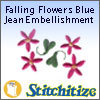 Falling Flowers Blue Jean Embellishment - Pack